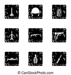 Weapons icons set, grunge style - Weapons icons set. Grunge...