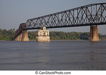 Mississippi River bridge - The Old Chain of Rocks bridge and...