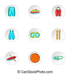 Active water sport icons set, cartoon style - Active water...