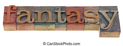 fantasy - word in printing blocks