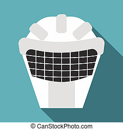 Goalkeeper mask icon, flat style - Goalkeeper mask icon....