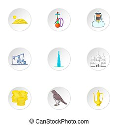 Stay in UAE icons set, cartoon style - Stay in UAE icons...