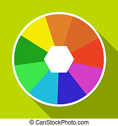Color wheel icon, flat style - Color wheel icon. Flat...