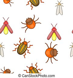 Insects pattern, cartoon style - Insects pattern. Cartoon...