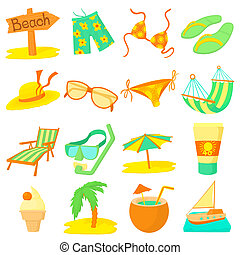 Sea rest icons set, cartoon style - Sea rest icons set....