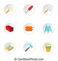 Building tools icons set, cartoon style - Building tools...