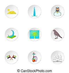 Tourism in UAE icons set, cartoon style - Tourism in UAE...