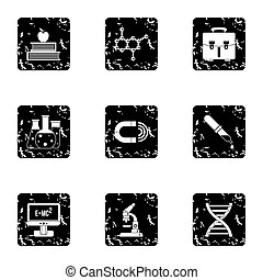 Scientific research icons set, grunge style