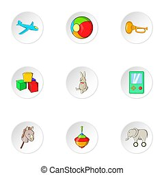 Toys icons set, cartoon style - Toys icons set. Cartoon...