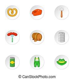 Oktoberfest icons set, cartoon style - Oktoberfest icons...
