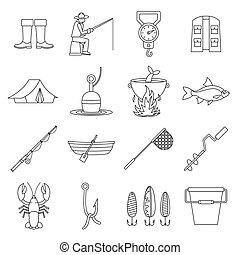 Fishing tools icons set, outline style - Fire fighting icons...