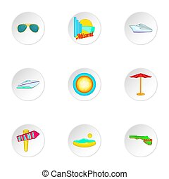 Stay in Miami icons set, cartoon style - Stay in Miami icons...