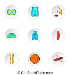 Water stay icons set, cartoon style - Water stay icons set....