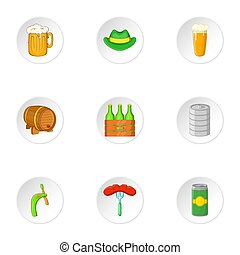 Alcoholic beer festival icons set, cartoon style - Alcoholic...