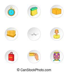 Transfer icons set, cartoon style - Transfer icons set....