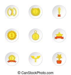 Rewarding icons set, cartoon style - Rewarding icons set....