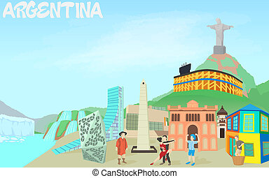 Argentina travel concept, cartoon style - Argentina travel...