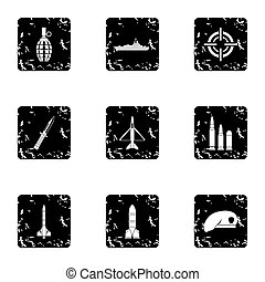 Military weapons icons set, grunge style - Military weapons...