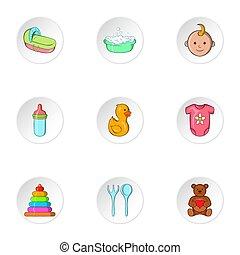 niemowlę, komplet, styl, rysunek, ikony
