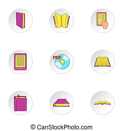 Education book icons set, cartoon style - Education book...
