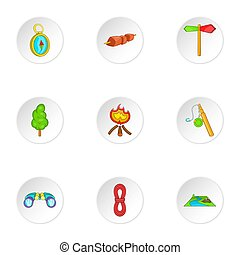 Campground icons set, cartoon style - Campground icons set....