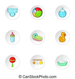 styl, ikony, komplet, niemowlę, zaopatruje, rysunek