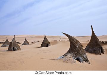 Libya,Sahara desert,a tuareg village in the Ubari lakes area