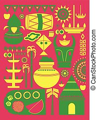 Happy Pongal festival celebration background - vector...