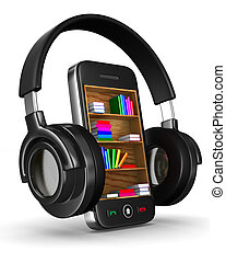 Audio books on white background. Isolated 3D image