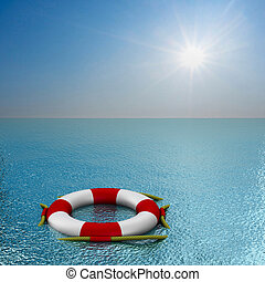 lifebuoy on water. 3D image