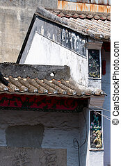 Old construction - The close up view of roof of old...