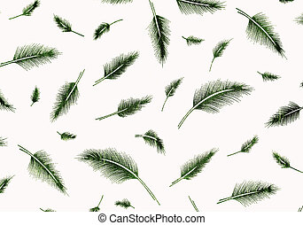 Green feathers pattern background