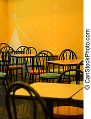 Restaurant - The tables and chairs of fast food store