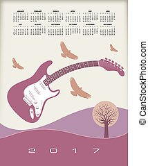 A 2017 calendar with a guitar theme