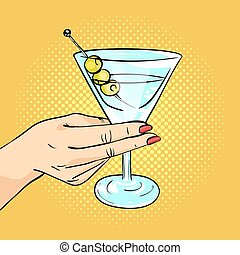 Vector hand drawn pop art illustration of woman hand holding Martini glass with olives. Retro style. Hand drawn sign.