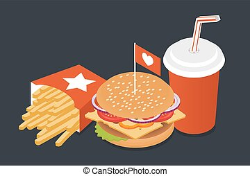 Vector illustration of isometric food: burger, French fries and cola.