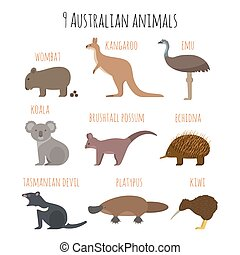 Vector set of Australian animals icons. Emu, wombat, kiwi,...