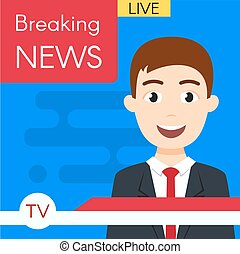 Vector illustration of smiling news journalist anchorman. Breaking news. News broadcast.
