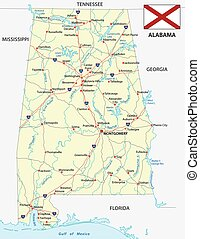 alabama road map with flag