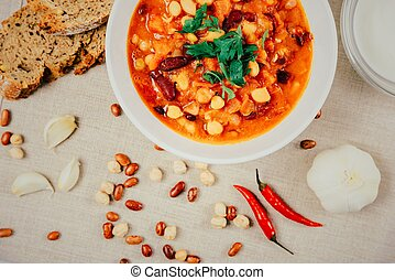 Chili Beans Stew, Bread, Red Chili Pepper And Garlic Ready...