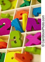 bois, boîte, jouet, caractères, Chiffres
