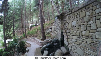 Artificial waterfall in park of Aivazovsky - Flyby Steadicam...
