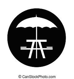 umbrella with picnic table icon