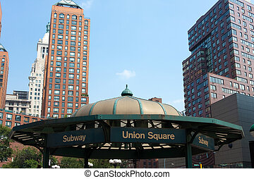 Union Square Subway Entrance - Close up detail view of the...