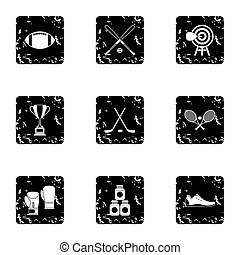 Sports accessories icons set, grunge style - Sports...