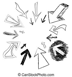 Doodled Arrows - Arrow doodles pointing in a circular frame...