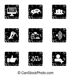 E-mail icons set, grunge style - E-mail icons set. Grunge...