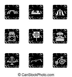 Rides icons set, grunge style - Rides icons set. Grunge...