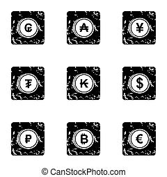 Money of countries icons set, grunge style - Money of...