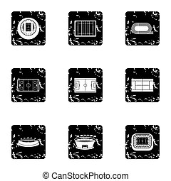 Sports complex icons set, grunge style - Sports complex...